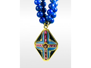 Gold Necklace With Lapis Beads